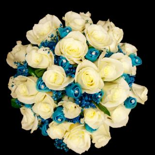 Ivory Roses with Blue Rosettes