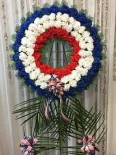 Artificial Red, White and Blue Wreath